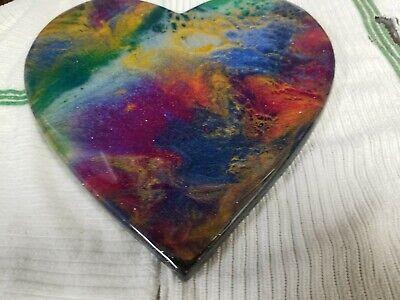 "9"" Resin Heart on Wood - Resin Art - Abstract Art - Resin Painting 9"