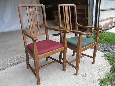 Pair of Edwardian Oak Arts & Crafts Open Carver Armchairs (429) 3