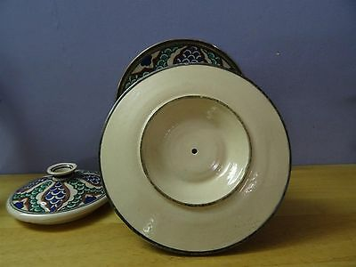 Antique Iznik ? Turkish ? Ottoman ? Pottery Plate Bowl + cover dish silver rim 5