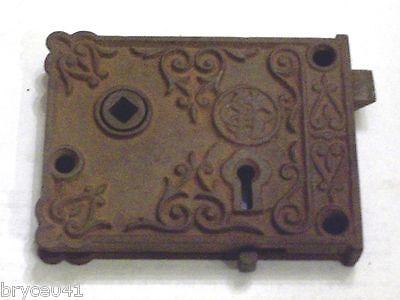 Antique Corbin Very Ornate Rim Lock With Slide Bolt #40 3