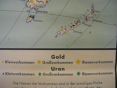 Schulwandkarte schöne alte Weltkarte Kohle Erdöl Gold 183x117cm vintage map 1961 3