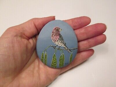 House Finch hand painted on a rock by Ann Kelly 2