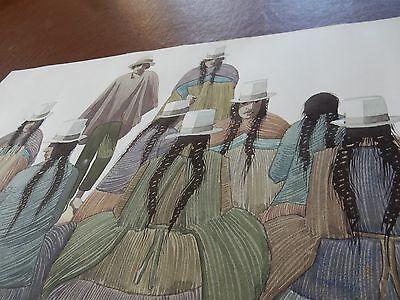1984 contemporary Peruvian painter DAE large artwork 55 x 38 cm WATERCOLOUR