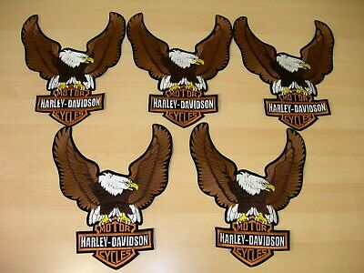 "Harley-Davidson Brown Up-Wing Eagle Patch ""10 1/2 x 7 3/4 "" - Made in USA 3"