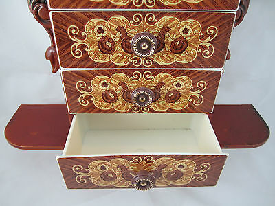 CONSOLE with Jewelry box Schmuckbox 45x32x8 antique Baroque Repro with 4 drawers 7