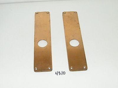 2 Solid Brass Door Lock Cylinder Plates 9 13/16 x 2 1/4 2