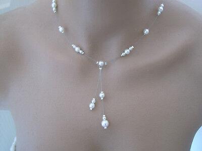 8b5455a0f PARURE BIJOUX IVOIRE/BLANC Perles Robe Mariée/Mariage/Cérémonie/Soirée pas  cher
