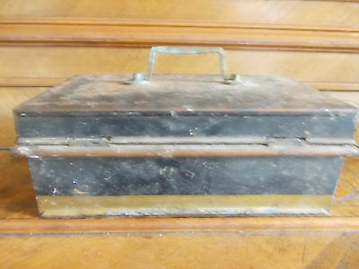 Vintage Metal Cash Tin With Internal Tray , No Key 7