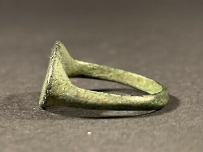 Very Rare Ancient Roman Scriba Bronze Seal Ring Depicting Scribe Circa 100-200Ad 4