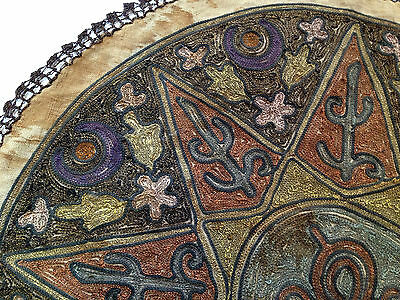 1880's ultra Antique Embroidery Ottoman Tughra Metallic Thread Turkish Tinsel 3 • CAD $347.83