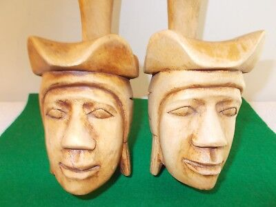 2 Vintage Handcarved Wooden Mask Wall Sculpture Decor, Bought Philippines,Unique 4