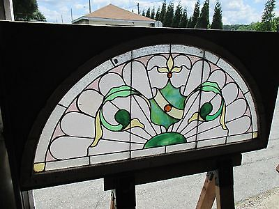 ~ ANTIQUE AMERICAN STAINED GLASS WINDOW 50.5 x 25 ~ ARCHITECTURAL SALVAGE ~ 2