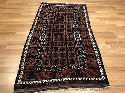 Beautiful Balouch - 1930s Antique Rug - Tribal Carpet - 3 x 5.6 ft. 2