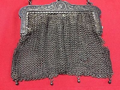 Antique Greek Pewter Womens Purse Alpacca Handbag Ladies Greece Grecia Peltro 3