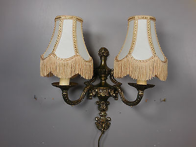 Vtg French Empire Style Dubble Wall Sconce Victorian Bell Shade Candelabra Lamp 2
