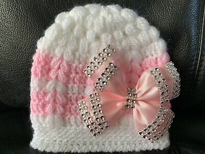 New hand knitted  Romany Bling baby girl booties/crochet hat 0-3 months 2