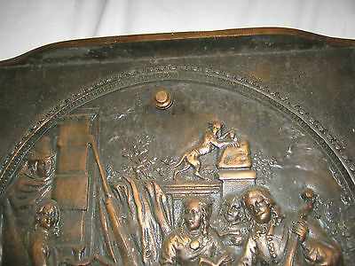 Antique Cast Iron Fireplace Cover Country Bronze Panel Music Art Plaque Monkey 4