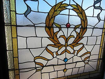 ANTIQUE AMERICAN STAINED GLASS LANDING WINDOW 35.75x42.25 ARCHITECTURAL SALVAGE 5