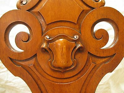 Quality pair of carved golden Oak hall chairs with pierced shaped back (ref 141) 9