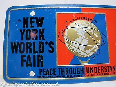 1964-65 New York World's Fair UNISPHERE Bicycle Lic Plate NYWF raised UniSphere 3
