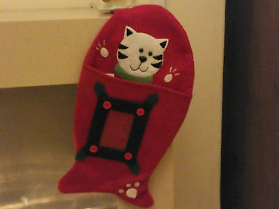 Fish Shaped Christmas Stocking For Your Cat * Clear Pocket For Photo * Cac 08 5