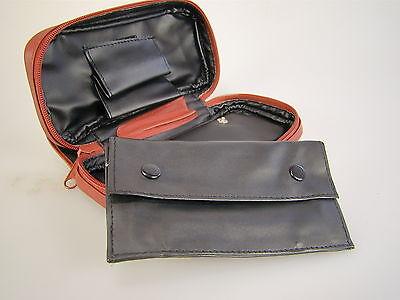 Braune Leder Pfeifentasche für 2 Pfeifen und Zubehör mit Tabakbeutel