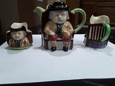 Teapot , Sugar and Creamer Set. Antique / Vintage H. J. Wood .Hand Painted . 2