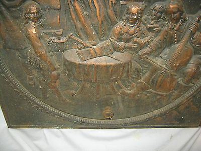 Antique Cast Iron Fireplace Cover Country Bronze Panel Music Art Plaque Monkey 5