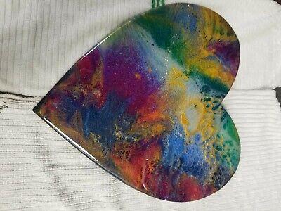"9"" Resin Heart on Wood - Resin Art - Abstract Art - Resin Painting 7"