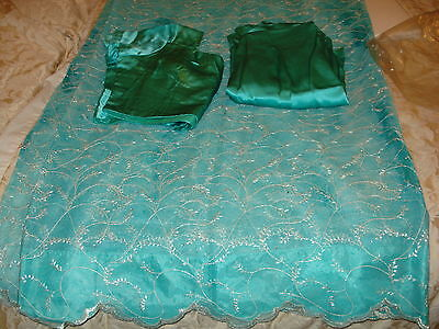 Chinese Net/lace Ladies Indian Saree With Matching Petticoat & Blouse 8