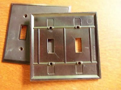 Two Vintage Bakelite Brown Double Toggle Switch Plates c1940 - Plain 2