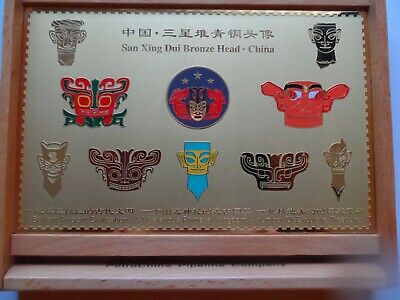 Rare  San Xing Dui China Bronze Heads Boxed 7