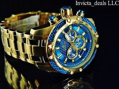 Invicta Men's 50mm SPEEDWAY SCUBA Chronograph Sapphire Blue Gold Tone SS Watch 5