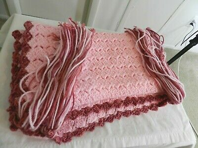 """Hand Knitted Acrylic Afghan Baby Throw Blanket Fringe Pink 16.5"""" x 87"""" 2"""