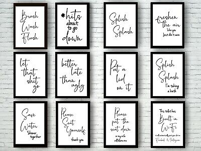 Bathroom Prints Script Style Wall Art Funny Poster. Quality Toilet Home Pictures 4