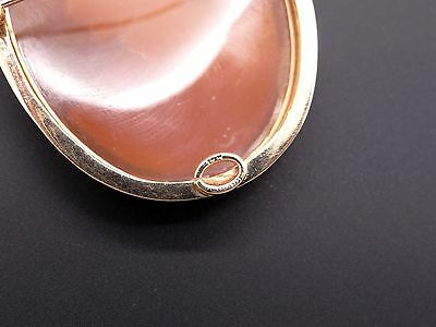 14k Yellow Gold Carved Shell Cameo Woman Portrait Brooch Pin Pendant 5