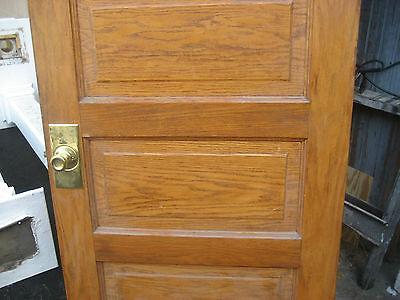 """circa 1900 SOLID oak PANELED door CHICAGO brownstone 83.5"""" x 32"""" x 1.75"""""""