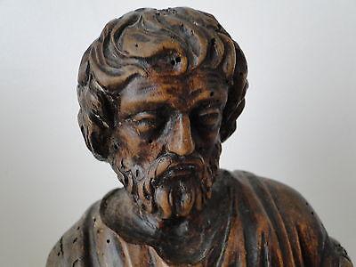 Escultura de Madera 17º Saint Sculpte 17º con Drape Estatuilla Religiosa G68 3