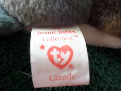 Mwmt Many Errors All Caps Ty Beanie Baby Claude Pvc Pellets Mint With Mint Tag