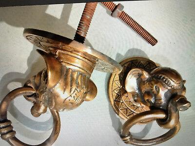 "2 ELEPHANT pulls handles antique solid brass vintage drawer knobs ring 2.1/4"" B 3"