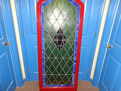 "STUNNING Vintage Arched Stained Glass Window, 5'  9-1/2"" Tall 5"