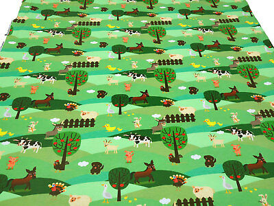 Baumwollstoff 100/% Baumwolle grün Schnecken Schafe Schmetterlinge