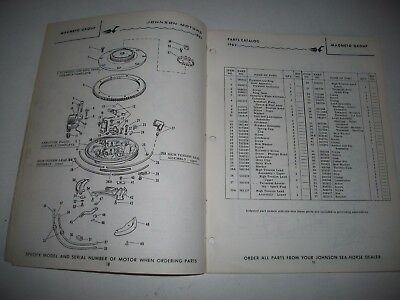 1962 Johnson Rx Rxl Rxe Rxel  10C  Sea-Horse 28 Hp Outboard Parts List Catalog