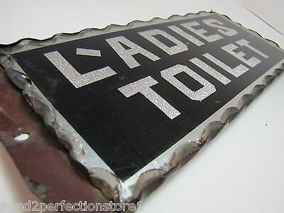 Antique Ladies Toilet Chip Glass Sign L'adies thick scalloped edge tin frame adv 9