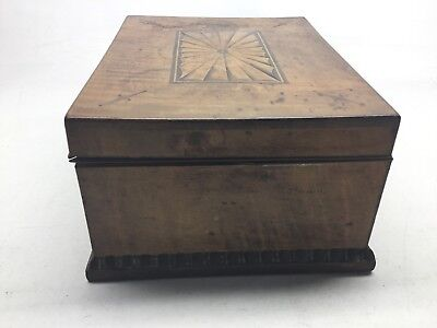Antique Tiger Maple, Mahogany, And Satinwood Inlay Jewelry Box 6
