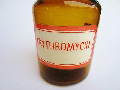antike alte Apothekerflasche, Giftflasche , Erythromycin