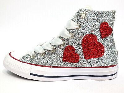CONVERSE ALL STAR Bianche Glitter Argento Cuori Love - EUR 145,00 ...
