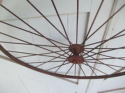 """Antique 28"""" pair IRON WHEELS industrial - steampunk SALVAGED modern design PARTS 4"""