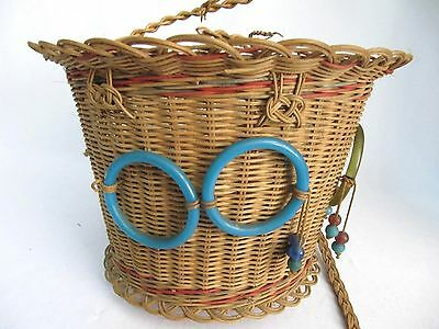 Antique Woven Wicker Reed Round Hanging Sewing Basket~Glass Bead Tassels~Vintage 5
