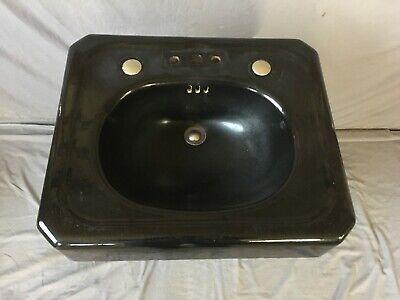 """Antique 24"""" Deco Cast Iron Black Porcelain Bath Pedestal Sink Old Vtg  235-19E 2"""